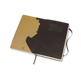 Черен тефтер Moleskine Snow White Gold Crown Large с широки редове, Limited Edition
