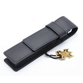 Кожен калъф за 2 пишещи средства Senator Accsessories Black